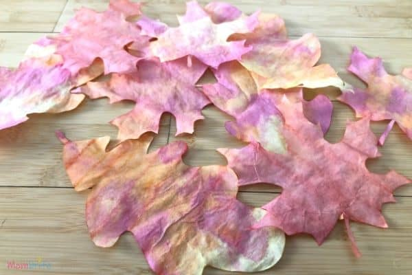 Coffee filter leaves craft