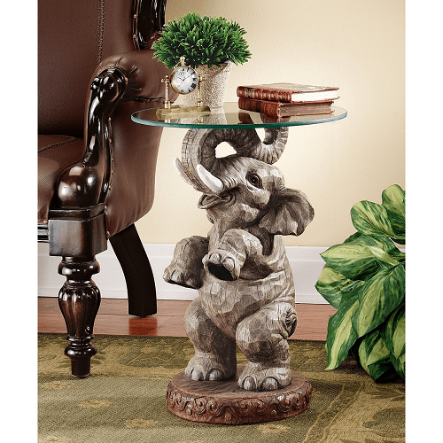 Elephant African Decor Glass Topped Side Table