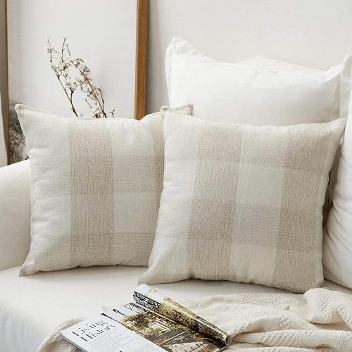 Plaids Cotton Linen Square Throw Pillow Covers