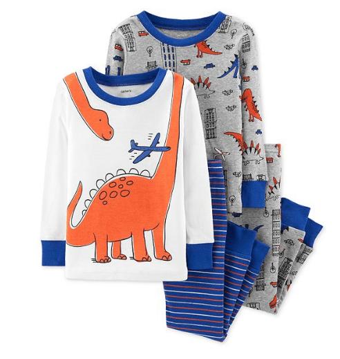 Carter's Toddler Boys 4-Pc. Dino-Print Cotton Pajamas $10.99 (Reg $34)