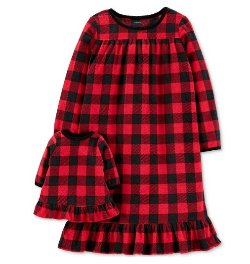 Carter's Toddler Girls 2-Pk. Buffalo-Check Nightgown & Doll Nightgown Set