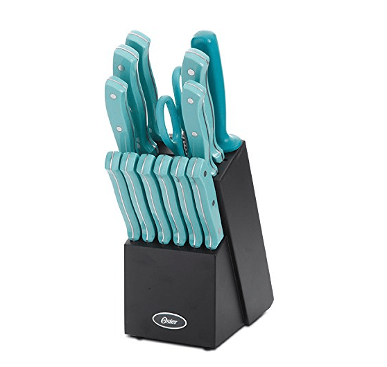Oster Evansville 14 Piece Cutlery Set with Turquoise Handles
