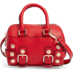 Bianca Studded Faux Leather Bowler Bag