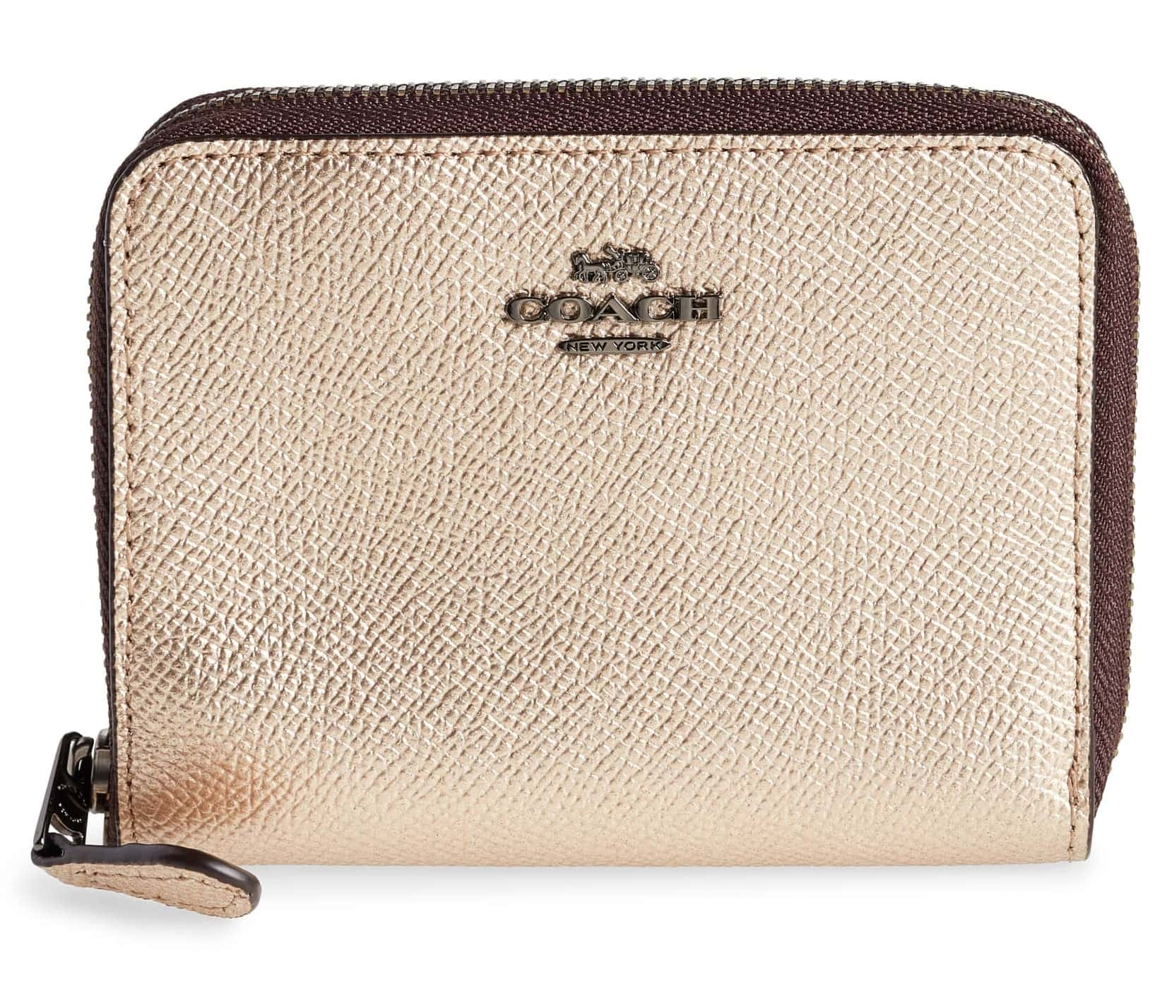 COACH Small Metallic Leather Zip Around Wallet