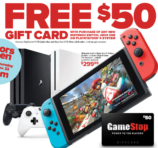 GameStop Black Friday Sale - Free $50 Gift Card With Nintendo Switch!