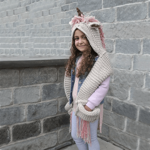 Handmade Hooded Unicorn Scarf