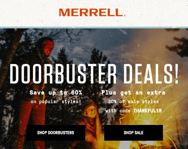 Sales As Good As Merrell Black Friday Deals + Extra 30% OFF Coupon Code For Sale Items