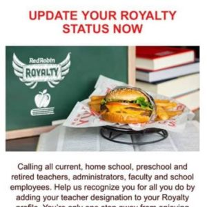 Red Robin Discounts - Teacher Discounts
