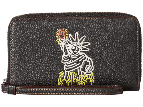 COACH Wristlet - COACH Keith Haring Pebbled Leather Phone Wallet Wristlet