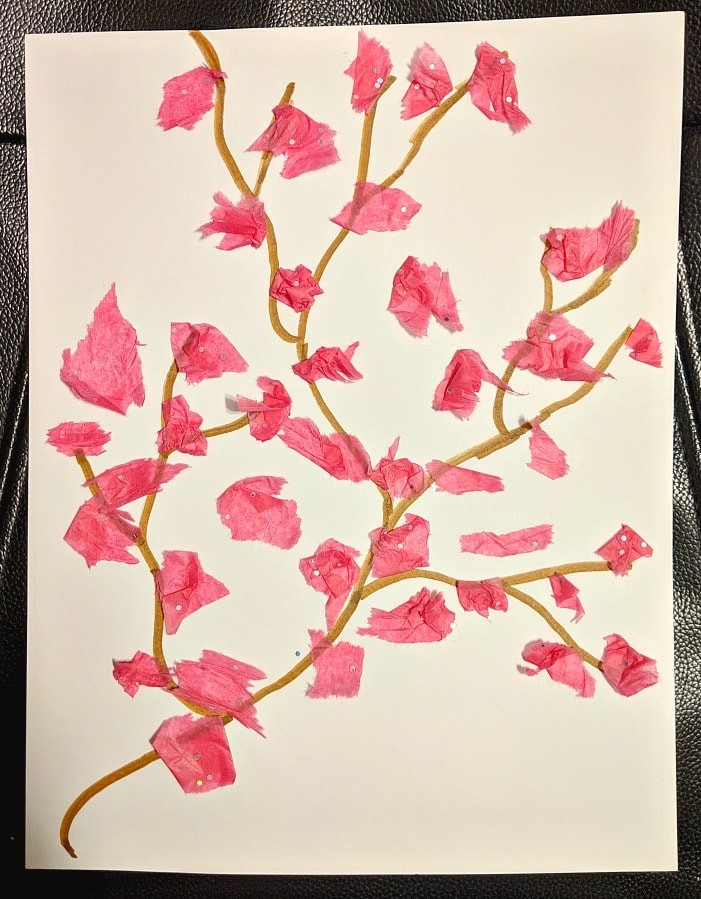 Chinese New Year Cherry Blossom Craft with Tissue Paper