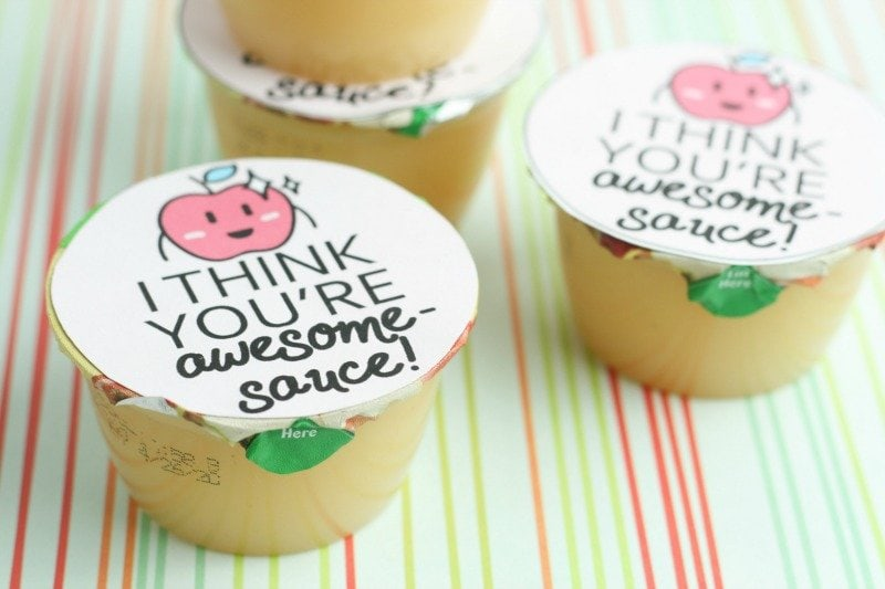 DIY Valentine Printable Cards for Applesauce