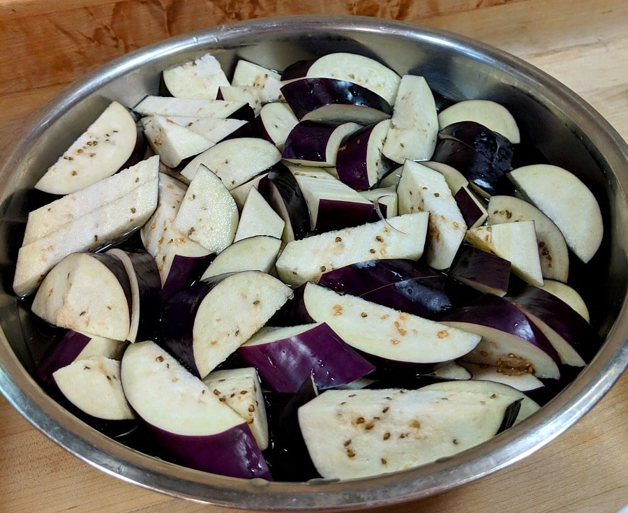Soaking Asian Eggplant for Spicy Garlic Eggplant Recipe