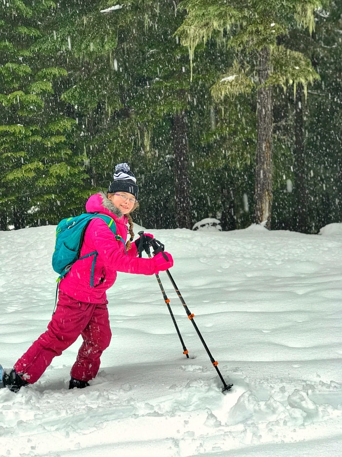 Snowshoeing during winter for family exercise