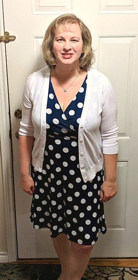 Polka dot dress & white sweater