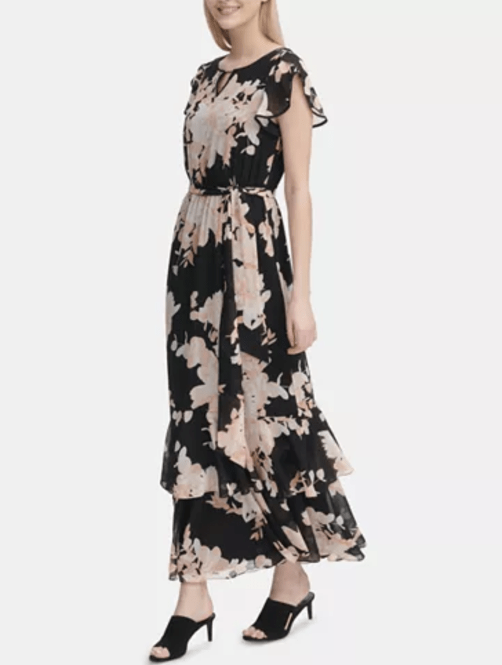 Calvin Klein Flutter Sleeve Maxi Dress