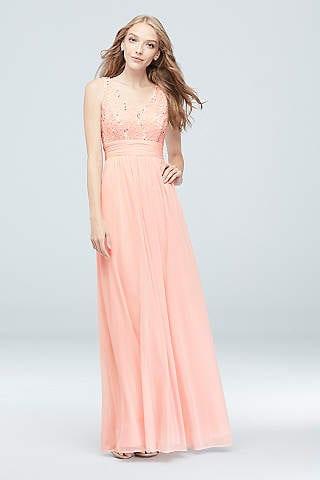 David Bridals Long Prom Dress Pink