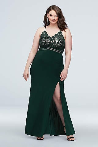 Plus sized prom dress long