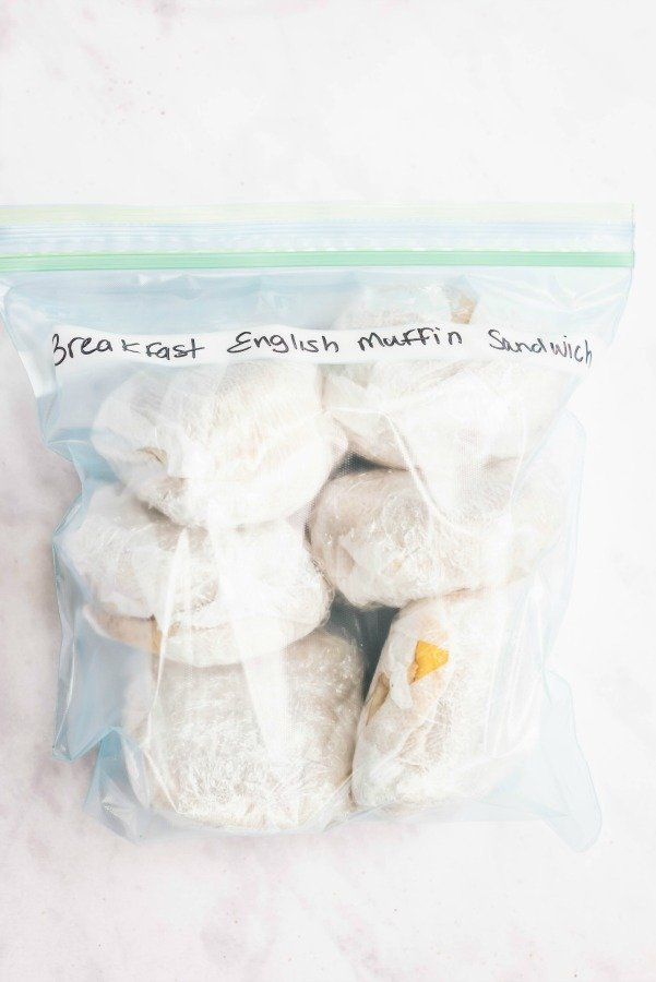 Freezer ready Breakfast Egg Muffin Sandwiches in Bag