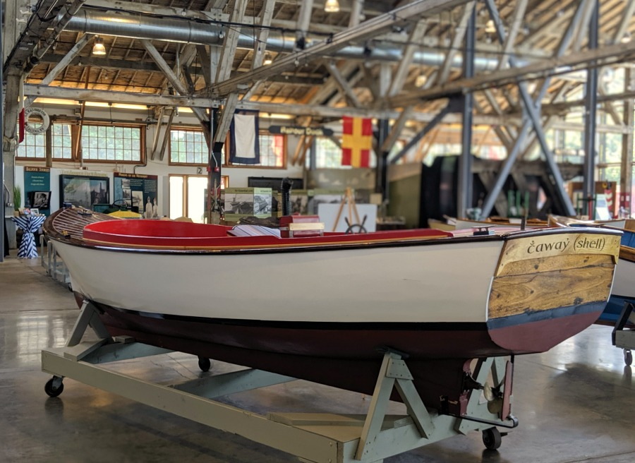 Boats inside Foss Waterway Seaport Museum