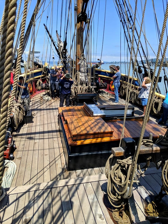On the deck of the Lady Washington Ship