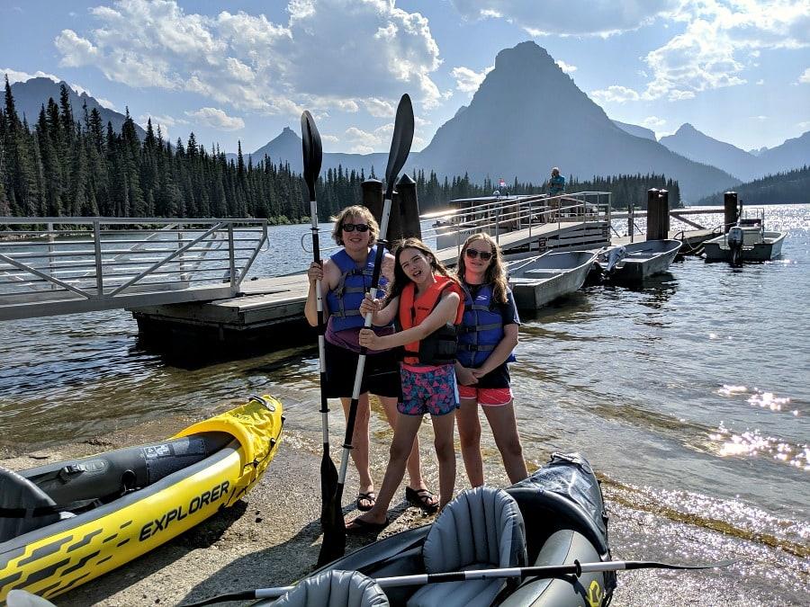 Two Medicine Lake with Kayaks at Glacier National Park
