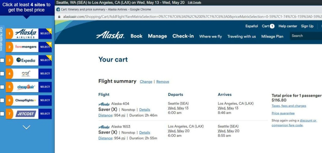 Alaska Airlines Sale from $20 One Way