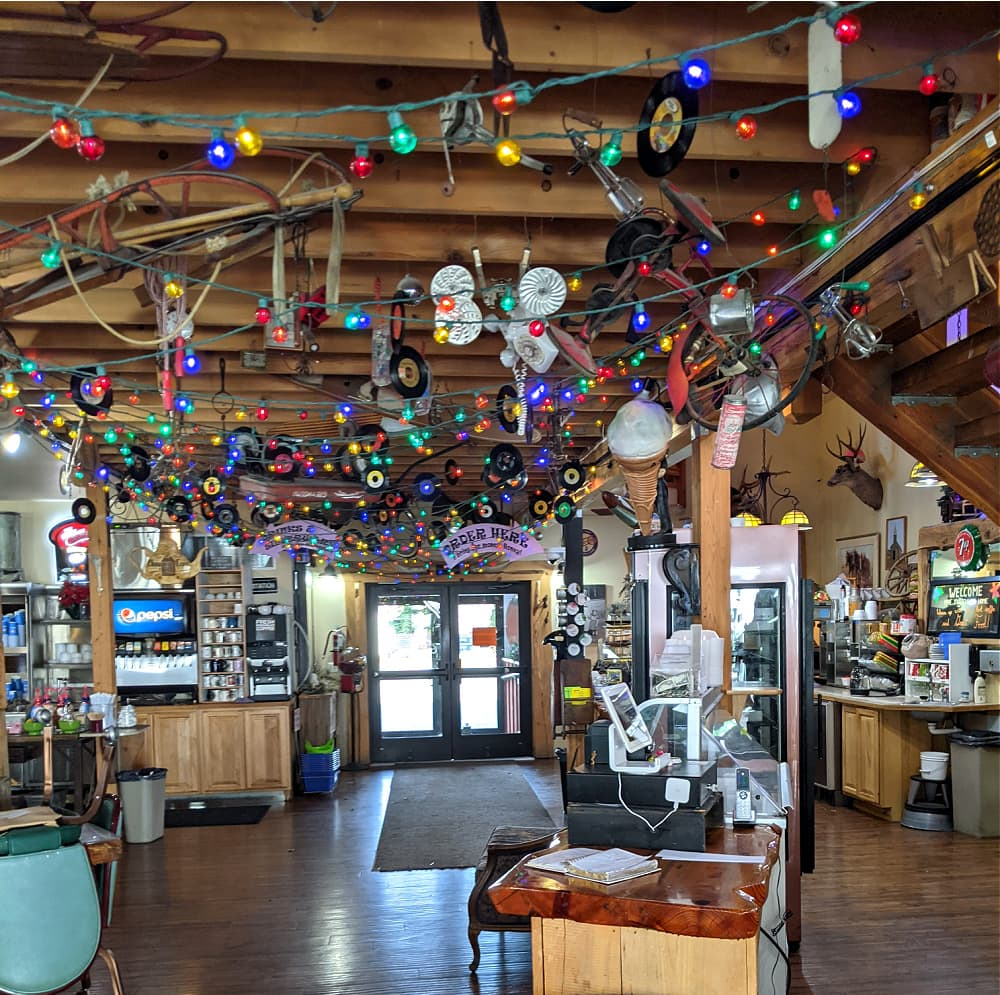 Eclectic decor at Blueberry Hills Restaurant in Manson WA
