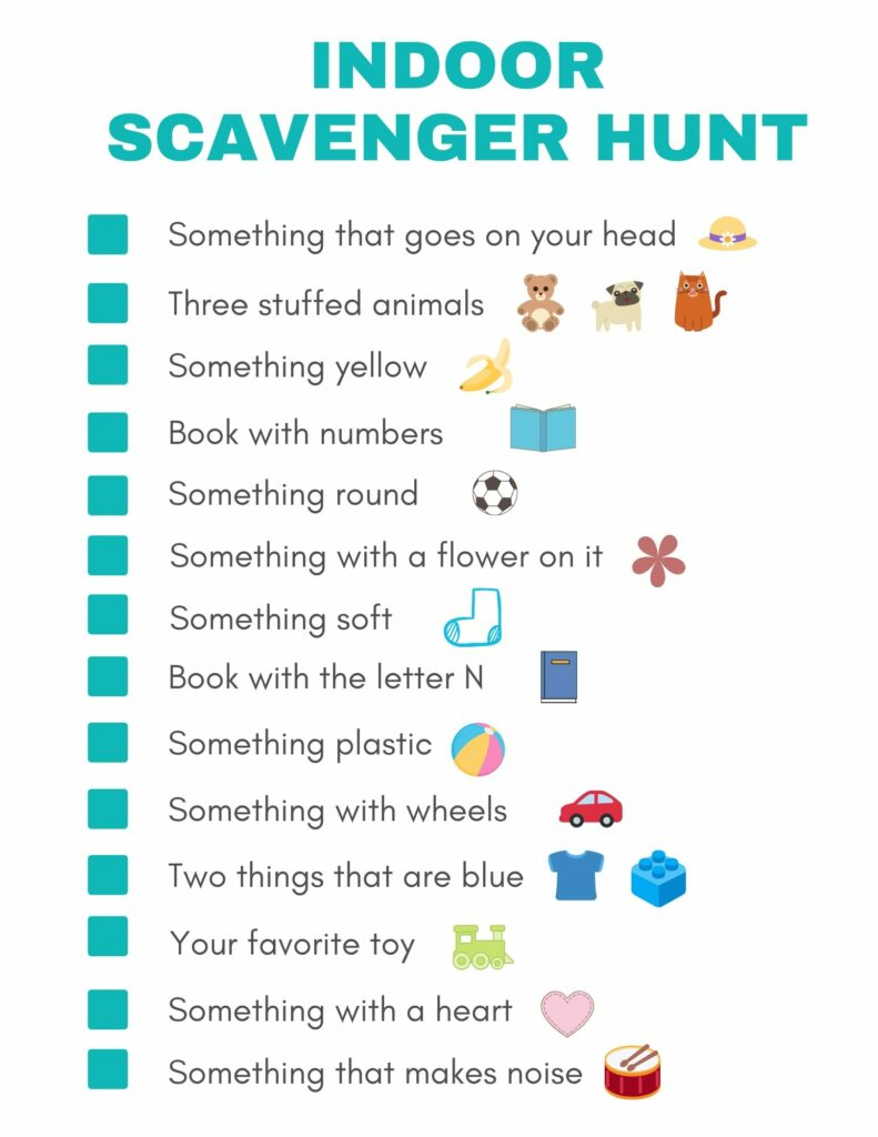 Indoor Scavenger Hunt for Kids Free Printable - Thrifty NW Mom