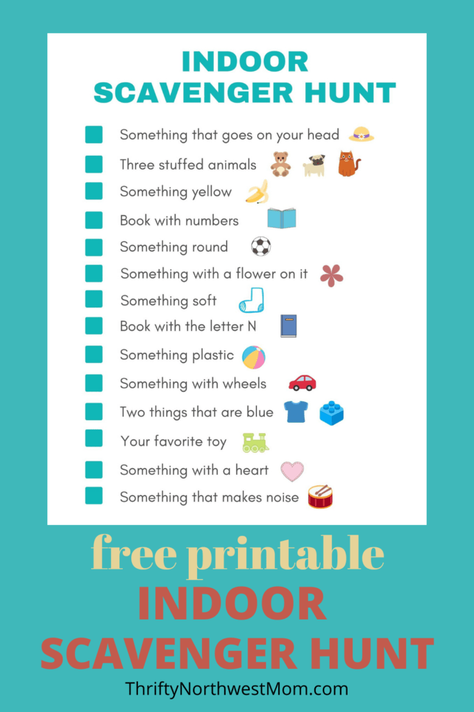 Free Printable Indoor Scavenger Hunt for Kids