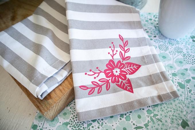 Cricut Joy Floral Iron On Vinyl Tea Towel