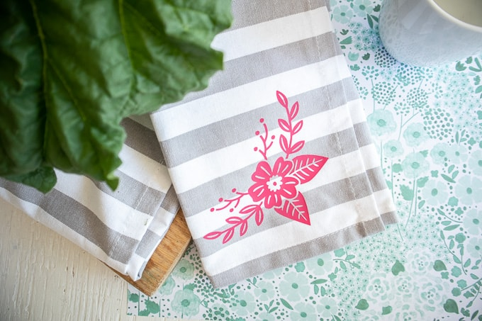 Cricut Joy Iron On Vinyl Floral Tea Towel