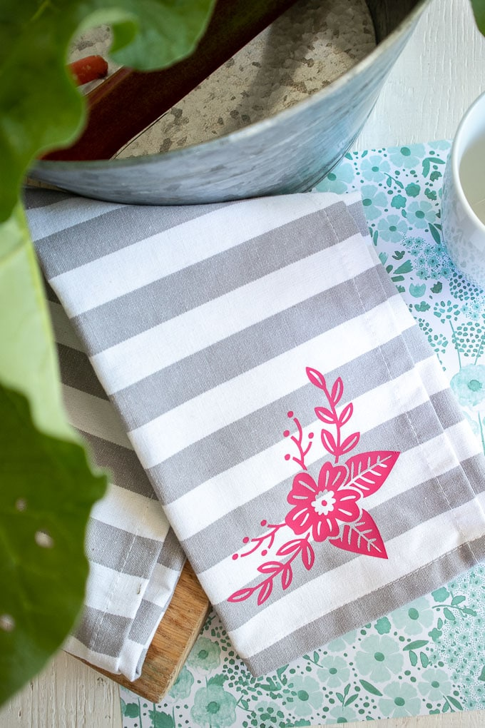 Floral Cricut Joy Iron On Vinyl Tea Towel
