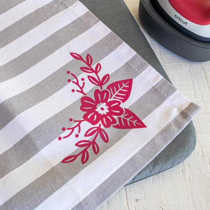 Iron on Vinyl with Cricut Joy Tea Towel