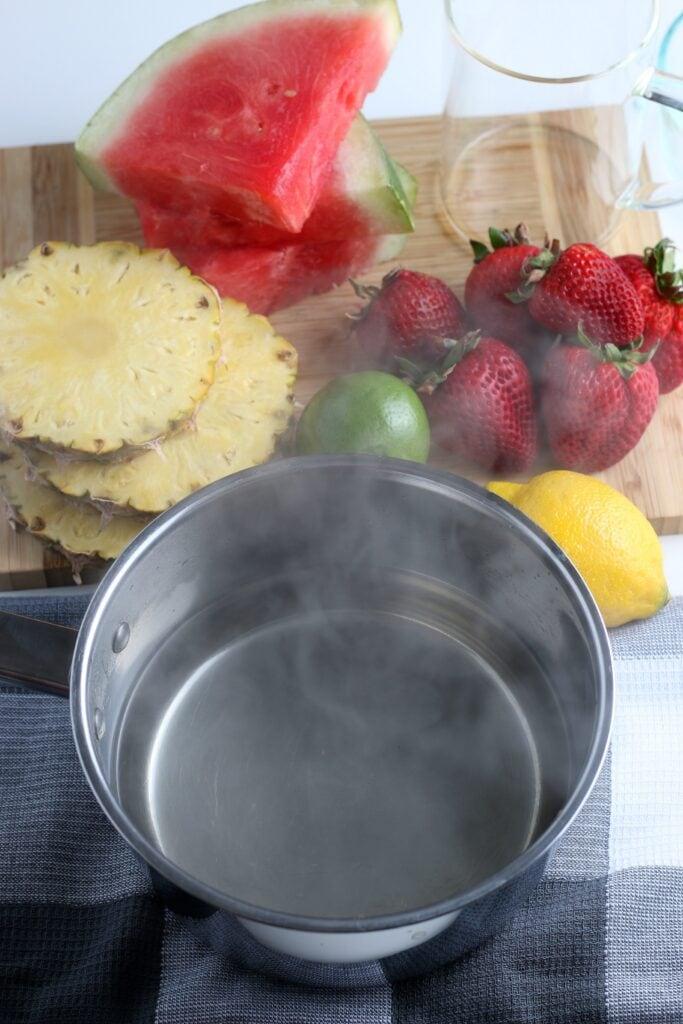 Ingredients for Watermelon Sorbet & making it