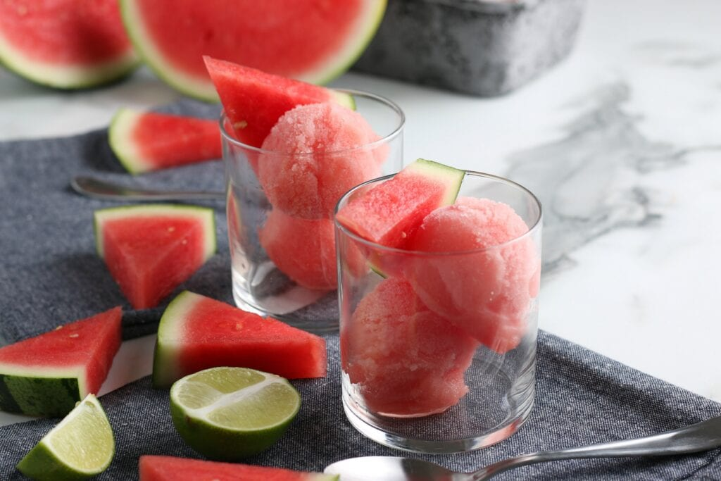 Watermelon Sorbet with Lime Flavor