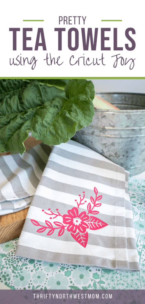 Floral Tea Towels Made With Cricut & Iron On Vinyl