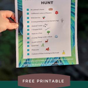 HIking Nature Scavenger Hunt for Kids