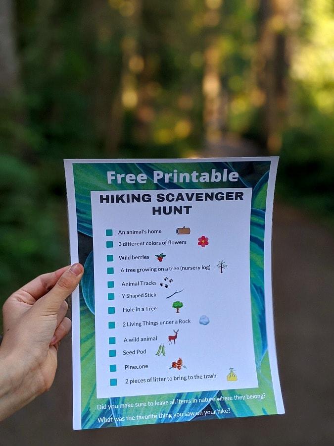 Free Printable Hiking Scavenger Hunt for Older Kids