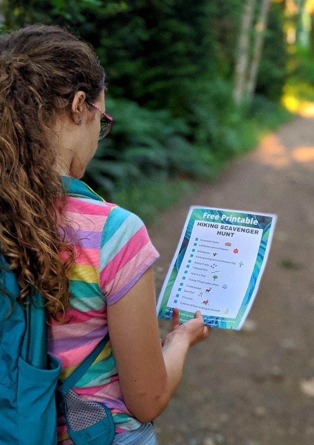 Hiking Scavenger Hunt for kids