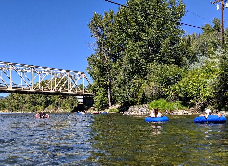 River Floating under a Bridge