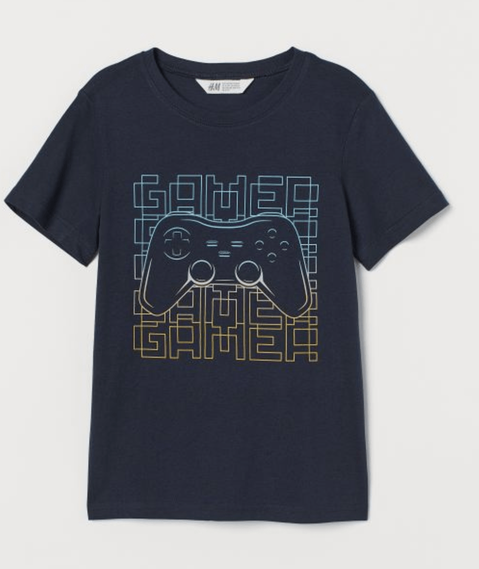 T shirt with printed design