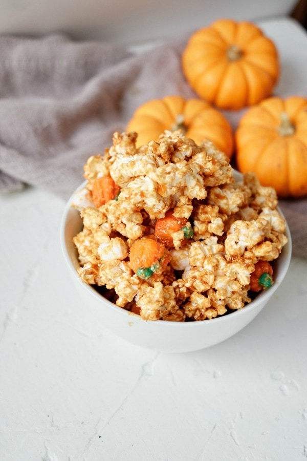 Caramel Popcorn with Pumpkin Candies