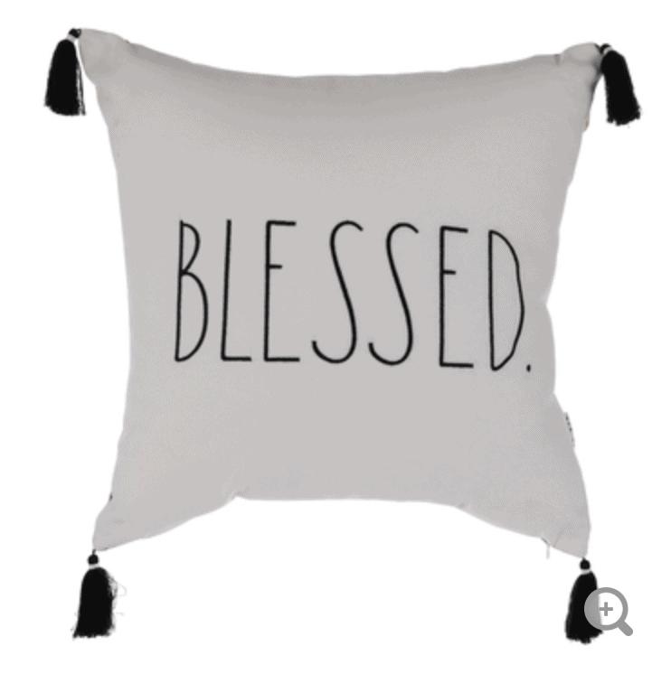 Rae Dunn Blessed Plaid Pillow