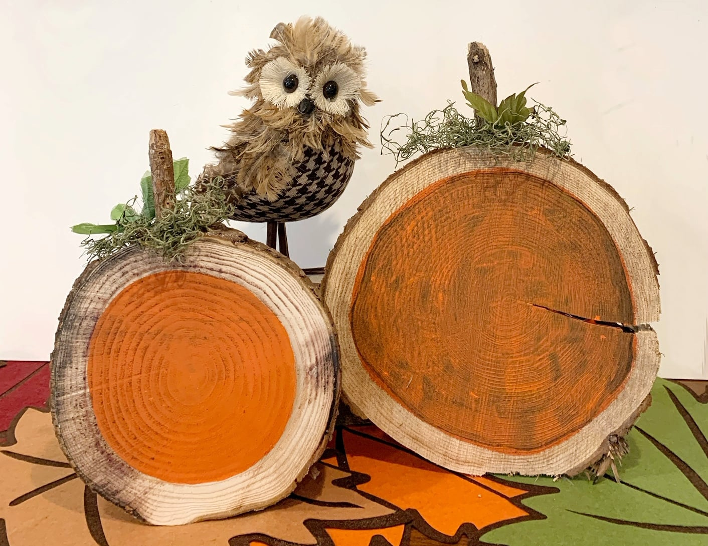 pumpkins made from wood rounds