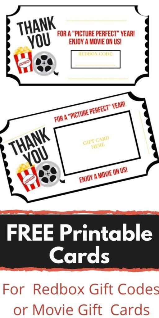 Movie & Redbox Gift Card Printable – FREE!