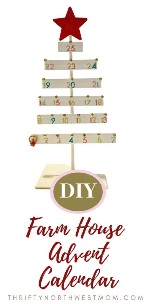 Farmhouse Decor Wood Tree DIY Advent Calendar