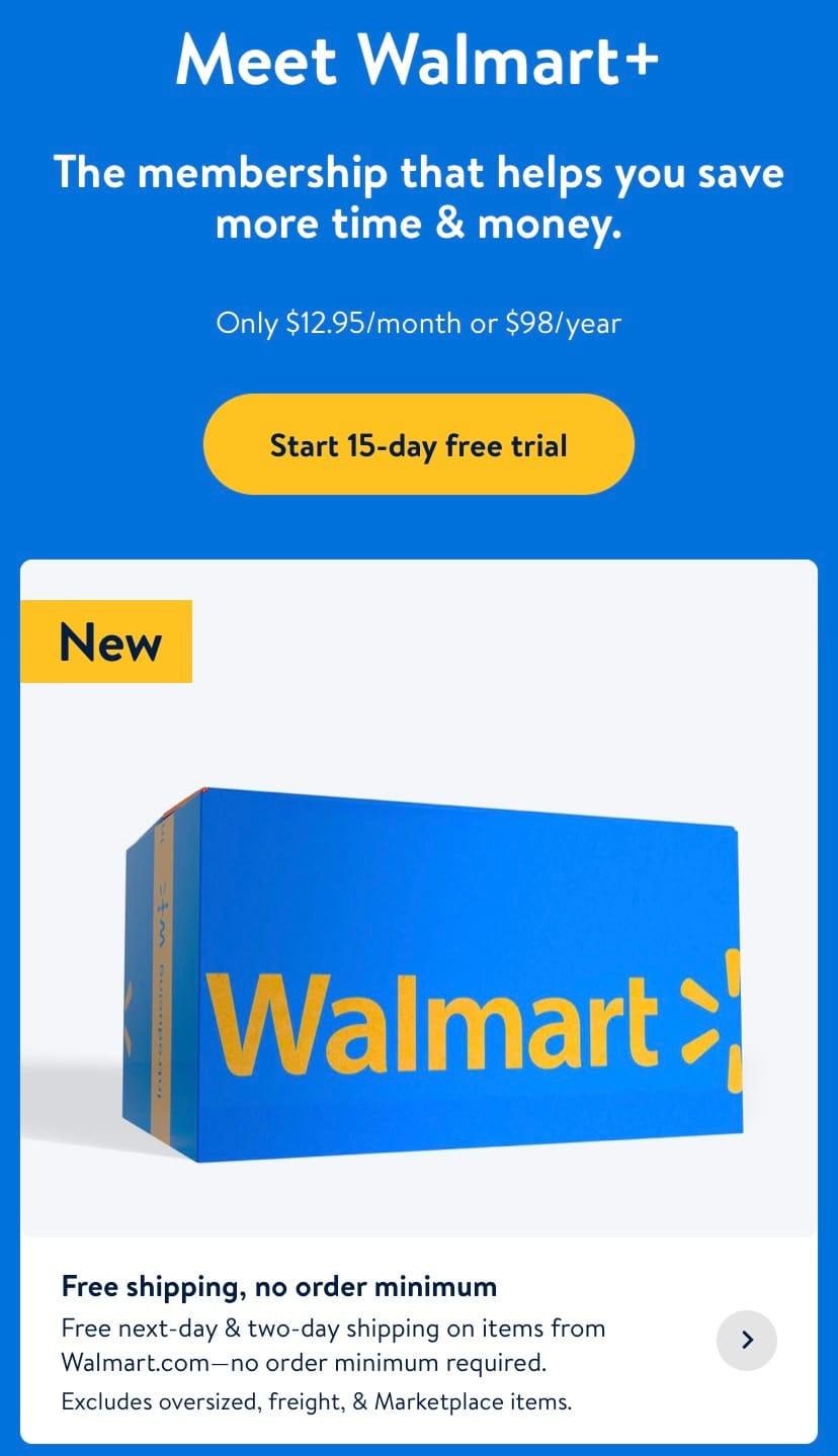 Walmart Plus Membership Free Trial