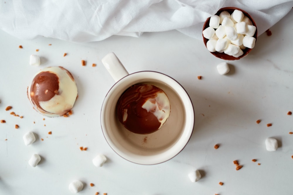 Hot Chocolate Ball in Mug with Ingredients