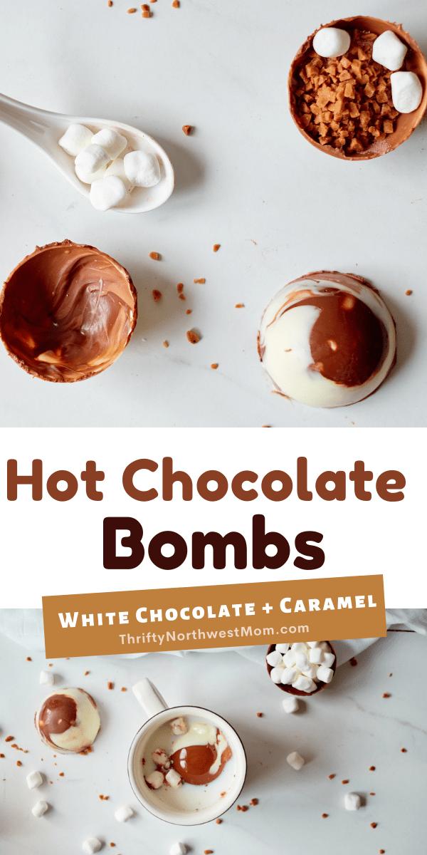 Hot Chocolate Bombs with White Chocolate & Caramel