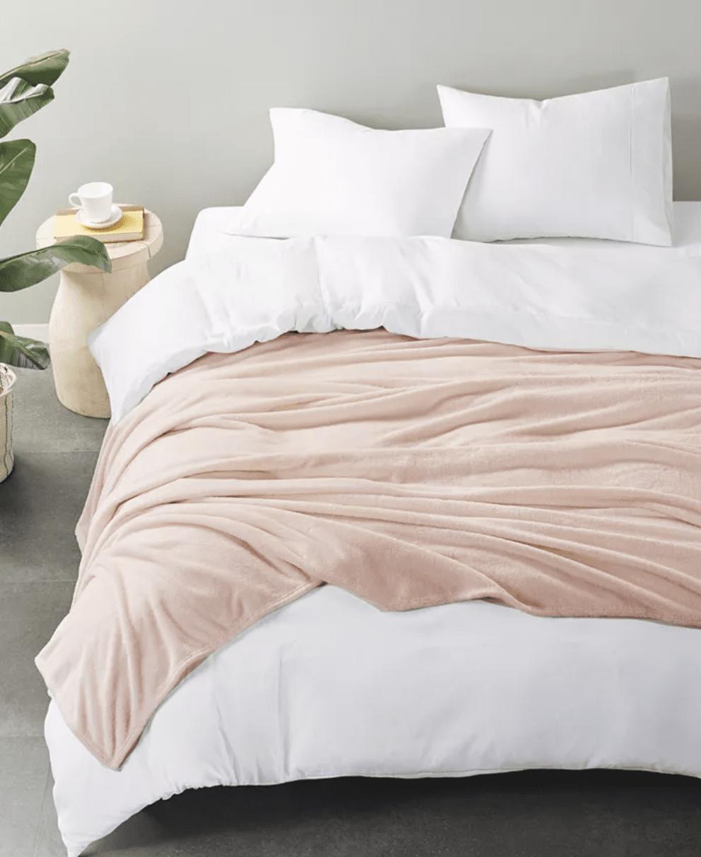 Pink plush queen blanket from Macys
